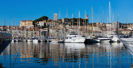 Harbour and old city at the French Riviera, Cannes