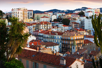 View on colorful streets of Cannes in France