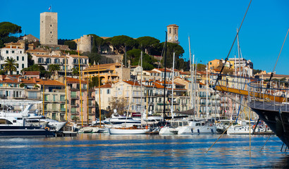 Picture of port of Cannes old city at the French Riviera