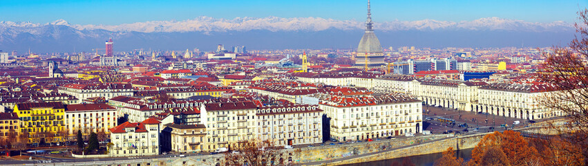 European city Turin old buildings and mountains, Italy