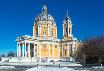 Image of the Basilica of Superga Turinin winter, Piedmont