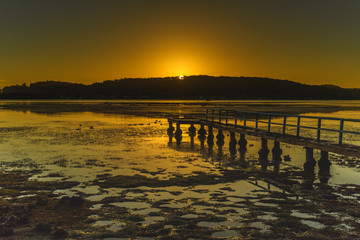 Golden Sunrise Waterscape with Wharf
