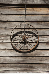 An old wagon wheel