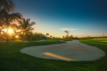 Sand bunkers at the beautiful golf course in the tropical island