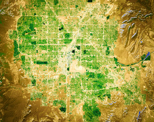 Vegetation and irrigation patterns of Las Vegas, Nevada, derived from remote sensing satellite data (NDVI index), contains modified Copernicus Sentinel data [2018]
