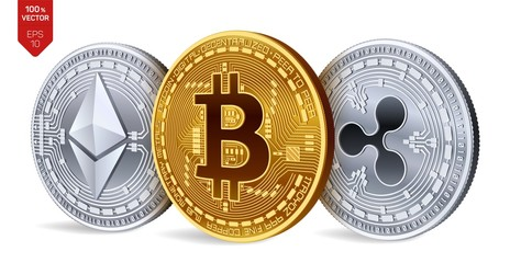 Bitcoin. Ripple. Ethereum. 3D isometric Physical coins. Digital currency. Cryptocurrency. Silver and golden coins with bitcoin, ripple and ethereum symbol on white background. Vector illustration.