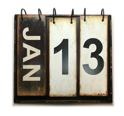 January 13 on calendar with white background