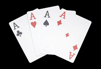 Four aces combination, poker, casino, curved, on dark background