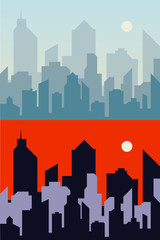 Morning and night town background city skyline. Cityscape flat vector illustration. EPS