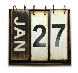 January 27 on calendar with white background