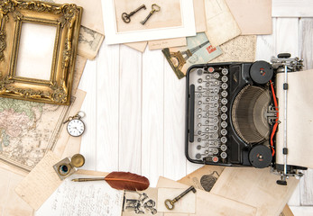 Antique typewriter vintage office accessories Flat lay still life