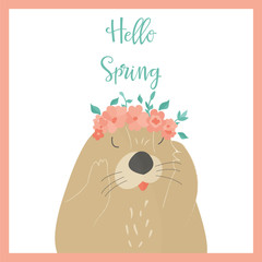 Vector illustration. Hello spring card with otter