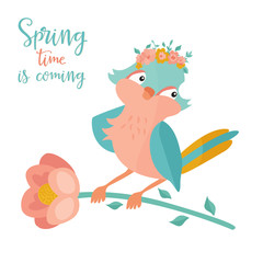 Vector illustration. Hello spring bird