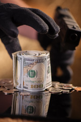 robbery bank money thief concept