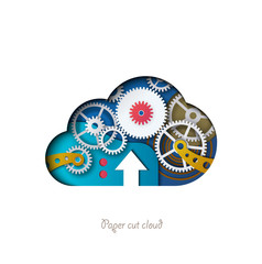 Paper cut cloud. Colorful cloud, with 3D gear mechanism. Cloud download, cloud technologies. Modern vector illustration. Banner, card.