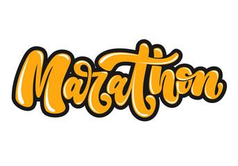 Marathon hand written lettering in graffiti style. Logo, emblem or symbol of marathon. Isolated on background. Vector illustration for print, sticker, textile design.