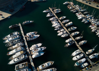 View from drones of sailboats and yachts in Barcelona