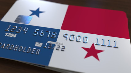 Plastic bank card featuring flag of Panama. National banking system related 3D rendering