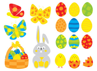 Colorful Easter eggs, chicks,butterflies and bunny collection/ simple vectors Easter objects set for children/ on white background