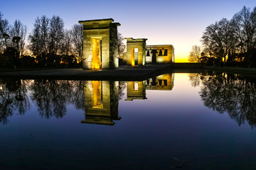 Amazing Sunset view of Temple of Debod in City of Madrid, Spain