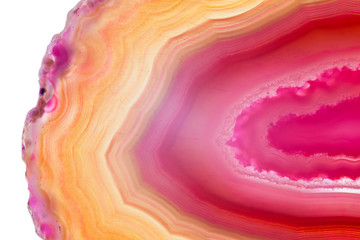 Abstract background, red and orange agate slice mineral with curved lines