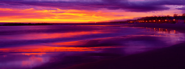 Red and purple sunset on the sea