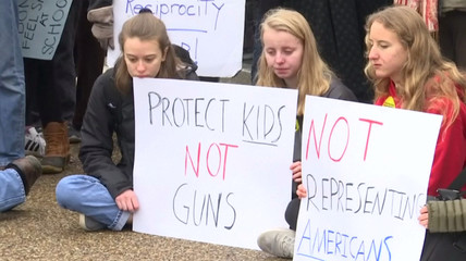 Demonstrators hold placards at a rally for gun control outside of the White House in Washington, DC, in this still image from video