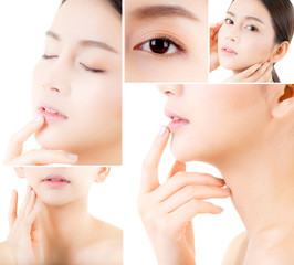 Collage of several photos for beautiful asian woman makeup of cosmetic, girl hand touch cheek, face of beauty perfect with wellness isolated on white background with skin healthcare concept.