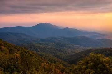 Printed roller blinds Mountains Landscape from Doi Inthanon national park , Chiang mai , Thailand