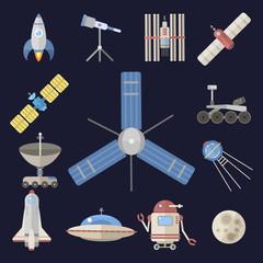 Stylish space ship constellation astrology radar cosmos universe technology meteor science shuttle astronaut rocket satellite vector.