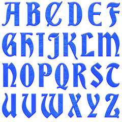 Blue plastic textured antique ancient font style full alphabet capital letter set in a 3D illustration with a shiny rough etched surface style isolated on a white background with clipping path.