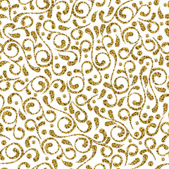 Vector seamless decorative flourish gold pattern. Golden and white abstract leaf background. Elegant ornament design for fashion textile print.