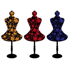 set of a female mannequin silhouette with colorful flower pattern