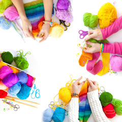 Women crochet and knitting from colored yarn. View from above.