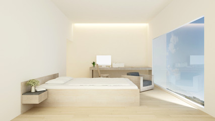 bedroom and workplace in hotel or apartment - Interior simple design - 3D Rendering