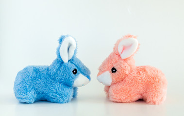 pink and blue toy Easter bunnies facing each other isolated on a solid background