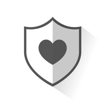 Flat Shield Icon - Heart