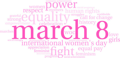 March 8 Word Cloud on a white background.