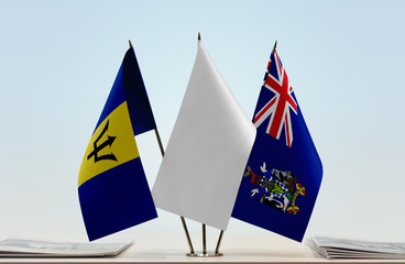 Flags of Barbados and South Georgia and Sandwich with a white flag in the middle