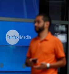 A man arrives at the Fairfax Media building in Sydney