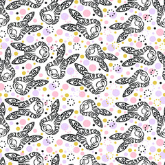 Seamless pattern with Bunny Head. Pattern for Happy Easter Day, girl or boy birthday, baby shower, pet shop, tattoo studio. Vector illustration.