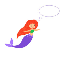 Cute little mermaid with speech bubble on white background. Cartoon mermaid with empty message bubble