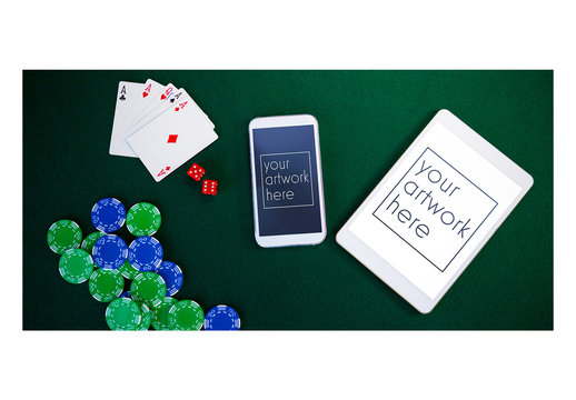 Smartphone and Tablet Mockup on Poker Table