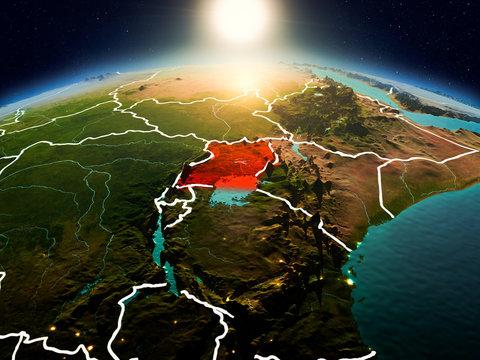 Uganda in sunrise from orbit
