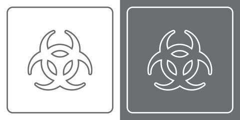 Flat Icon Button - Biohazard
