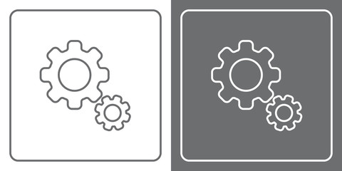 Flat Icon Button - Gears