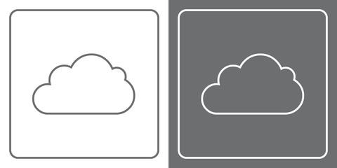 Flat Icon Button - Cloud