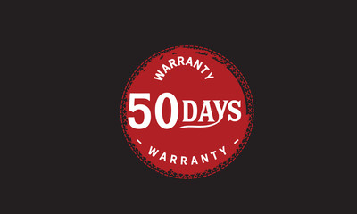50 days warranty icon vintage rubber stamp guarantee