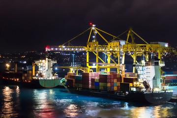 The Port of Bridgetown, Barbados at night.