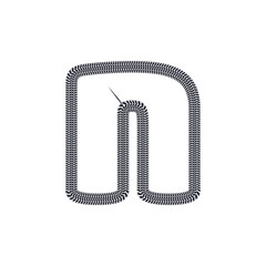 N Tire Print Track Letter Logo Icon Design